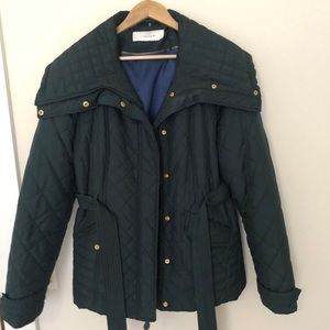 T Tahari Quilted hunter green wrap jacket w/ gold